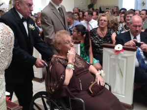 3 weeks ago, Grandma kissing her first grand child, my cousin Frankie, at his wedding.